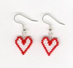 Valentines Beaded Red and White Heart Seed Beads by FoxyMomma, $10.00