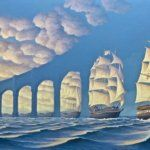 Canadian painter Rob Gonsalves surrealistic paintings portrays two seemingly different realistic scenes magically merging into one. Magic Realism, Realism Art, Canadian Painters, Surrealism Painting, Optical Illusions, Art School, Creative, Illustration, Instagram Posts