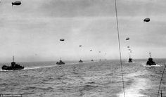 D-day: Part of the flotilla which invaded Normandy on June 6, 1944 in order to wrest control from the Germans. Online historians have helped identify the ships as Group 30, Series 11, flotilla 9, convoy U1-F.