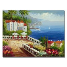 afc83e7b384a  Mediterranean View  Painting Print on Canvas Mediterranean Paintings