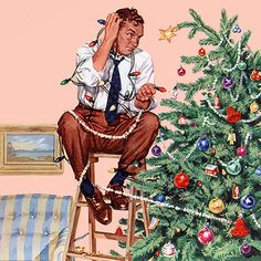 The best Norman Rockwell Christmas art, paintings, drawings and magazine covers. Celebrate holiday nostalgia with Vintage Norman Rockwell Christmas art. Peintures Norman Rockwell, Norman Rockwell Art, Norman Rockwell Paintings, Vintage Christmas Cards, Retro Christmas, Vintage Holiday, Christmas Art, Christmas Lights, Christmas Paintings