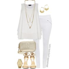"#plus #size #fashion ""Plus Size - White Gold"" by alexawebb on Polyvore"