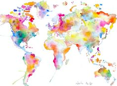 ooak Original World Map Art  Colorful Watercolor Painting by asho