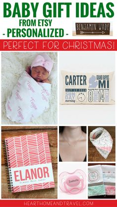 Looking for a unique and thoughtful baby gift? These personalized gift ideas would make perfect baby gifts to celebrate the arrival of a new baby during the Christmas holiday season.