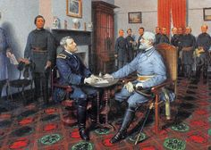 Another artistic rendering of Lee's surrender. Oil on canvas by Louis Guillaume, Historical Romance, Historical Fiction, Ulysses S Grant, National Poetry Month, United States Army, American Civil War, Cannon, Oil On Canvas, History