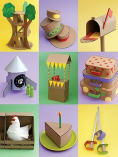 Awesome crafts with cardboard! Repurpose cardboard into tree house, mailbox, rocket ship, swords, etc! ~ Would like to make the mail box as a Tattling Corner thing...would be good for in the house as well for siblings.