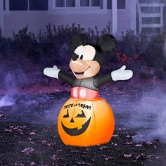 halloween mickey mouse disney pumpkin 3 feet tall airblown inflatable yard decoration welcome your trick - Halloween Inflatable Yard Decorations
