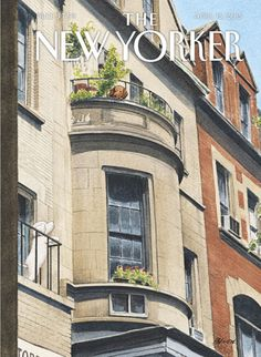 """The New Yorker cover: April 13, 2015, """"Balcony Scene"""" by Harry Bliss, (featuring Penny, his miniature poodle)."""