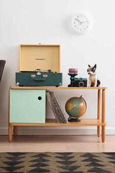 Record Player, Diana camera, records, globe