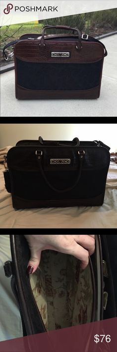 a42001a99f Brighton Weekender Luggage Bag Very good used condition. Inside has minimal  signs of wear. Brown microfiber with brown leather snakeskin accents.