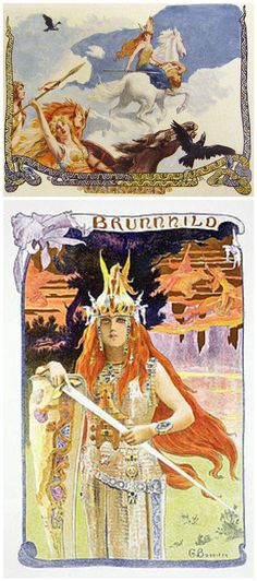 "Brynhildr and Göndul  Brynhildr is a shieldmaiden and a valkyrie in Germanic mythology, where she appears as a main character in the Völsunga saga and some Eddic poems. Göndul  (Old Norse ""wand-wielder) is a valkyrie. Göndul is attested in Heimskringla, Sörla þáttr, and a 14th-century Norwegian charm. In addition, Göndul appears within the valkyrie list in the Poetic Edda poem Völuspá, in both of the twoNafnaþulur lists found in the Prose Edda, and among the valkyries listed in Darraðarljóð."