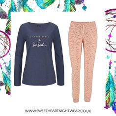 Perfect Lounging Pyjamas, with a pull on Style Navy Jersey Top andApricot Star PrintCotton Woven Elasticated Waist Bottoms.Do not just waste them just for bedtime, these are perfect for lounging when you get home from a long day and just want to sit comfortably in these pyjamas.
