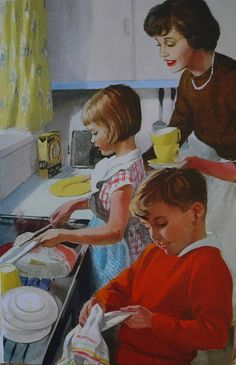 """Illustrations taken from """"Helping at home"""" by M. Gagg, with illustrations by J. Published by Ladybird Books, Photo Vintage, Vintage Ads, Vintage Food, Vintage Pictures, Vintage Images, Fee Du Logis, Vintage Housewife, Age Appropriate Chores, Ladybird Books"""