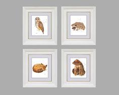 WOODLAND Decor, Set of 4 PRINTS, animal prints, Baby Owl, Bear, Fox,  Hedgehog. $70.00, via Etsy.