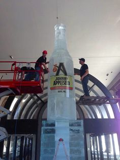 Construction of the Johnny Appleseed ice luge.