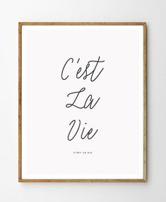 C'est la vie - Typography Art. Minimal Quote Poster - printable PDF. Instant Download. French Quote Print. That's Life Quote French Art.