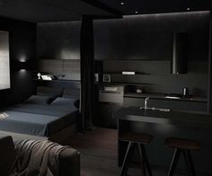 Modern Home Decor 15 Elegant And Comfortable Black Bedroom Designs and Decorations For Cool Men's.Modern Home Decor 15 Elegant And Comfortable Black Bedroom Designs and Decorations For Cool Men's Black Bedroom Design, Black Interior Design, Small Room Design, Home Room Design, House Design, Bedroom Designs, Bedroom Black, Design Design, Bedroom Setup