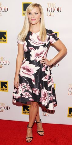 Reese Witherspoon's print of choice for the red carpet premiere of The Good Lie was gardenia, courtesy of her floral Dior dress. Black ankle-strap sandals completed her look. #InStyle