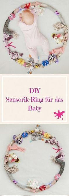 Sensory Hula Hoop for the Baby - Employment, Learning and .- Sensorial Hula Hoop for the baby – employment, learning and playing in one – make sensor ring yourself. Hula Hoop, After Baby, Infant Activities, Baby Party, Having A Baby, Kids And Parenting, Diy For Kids, Diy For Babies, Baby Love