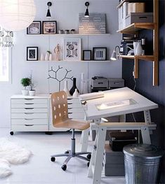 White Workspace with Black and Wood Accents