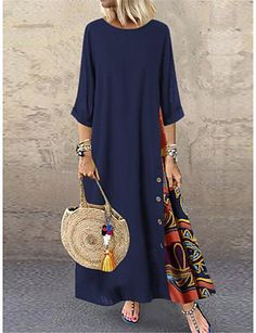 Buy Fashion Women Casual Baggy Loose Half Sleeve Patchwork O Neck Beach Dress Floral Printed Bohemian Holiday Maxi Dresses Plus Size Dress Robe Femme at Wish - Shopping Made Fun Dress Plus Size, Plus Size Maxi Dresses, Long Sleeve Maxi, Maxi Dress With Sleeves, Half Sleeves, Vestidos Color Rojo, Manga Floral, Dress Outfits, Casual Dresses