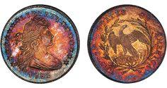 1795 Draped Bust silver dollar (rainbow toning)