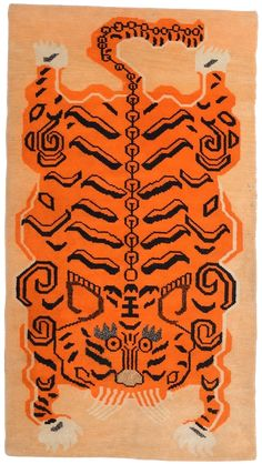 We discovered this antique Tibetan Tiger khaden rug in the restricted Mustang area high in the Himalaya. This handmade wool rug has a striking tiger design. Diy Carpet, Modern Carpet, Rugs On Carpet, Carpet Ideas, Stair Carpet, Tiger Rug, Tiger Tiger, Mohawk Carpet, Posca Art