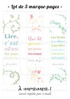 Lot de 3 marque-pages à imprimer : Citations sur la lecture (couleur) : Marque-pages par mes-jolies-phrases