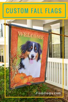 """Add your photo and choice of text to a gorgeous Fall flag design! Choose your design, font style and colors! Perfect for one of a kind, seasonal dog flags, personalized fall decorative flags and more. 2 sizes 28""""x40"""" and 12.5"""" x18"""". Printed on both sides of a high quality fabric you will love."""
