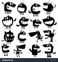 Funny Animals Royalty Free Cliparts, Vectors, And Stock Illustration. Cartoon Monsters, Cute Monsters, Animal Silhouette, Silhouette Vector, Cartoon Silhouette, Free Cliparts, Clip Art, Doodle Art, Vector Art