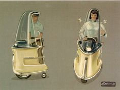 1965 Mono Scoot . Concept for personal transportation device; artist Richard H. Arbib.