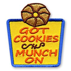 2 X 2 1/4 Inches *IRON-ON backing for easy & Snappy application** Our Got Cookies - Munch On fun patch will make a great addition to just about any cookie themed event or activity you have planned for your youth group or troop. http://www.snappylogos.com/Got-Cookies-Munch-On-Fun-Patch/productinfo/3327/