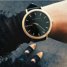 #fifthbabe @abbeycameron with our Black & Gold timepiece | The Fifth Watches // Minimal meets classic design: www.thefifthwatches.com