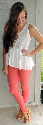 Coral Skinny Jeans – Monica's Closet Essentials