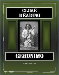 Close Reading - Geronimo includes two reading passages and six response sheets for close reading.  4-5 grade and homeschool.  12 pages.  $2.00