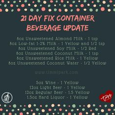 New 21 Day Fix Beverage Container Counts - Updated March 20, 2017 via Autumn Calabrese FB LIVE video....www.timmipark.com