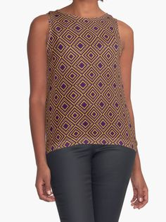 Diamonds and Dots in Gold on Purple Contrast Tank Top by TC-TWS