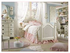 Emma's Treasures  Mansion Bedroom Sets  Distressed Vintage White Color Finish  Customize Your Own Set