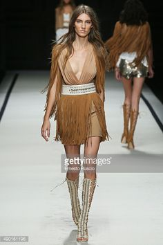 A model walks the runway during the Elisabetta Franchi fashion show as part of Milan Fashion Week Spring/Summer 2016 on September 26, 2015 in Milan, Italy.