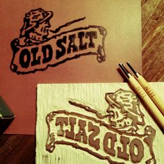 Old Salt Linocut by Keith Tatum Out Of My Mind, Block Prints, Letterpress, Printmaking, Stamping, Identity, Salt, Stationery, Logo
