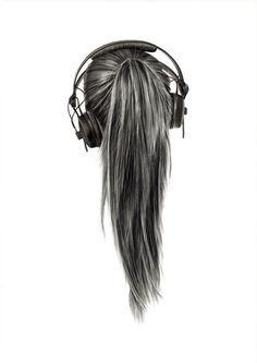 Pencil drawn hair and headphones