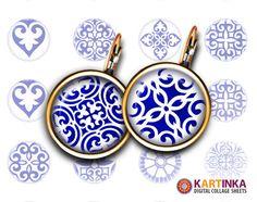 Instant Download INDIGO BLUE ORNAMENTS  15mm & by KARTINKAshop, $3.60