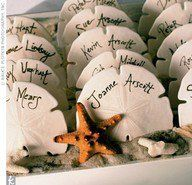 For that beach wedding, using sand dollars for your escort cards.