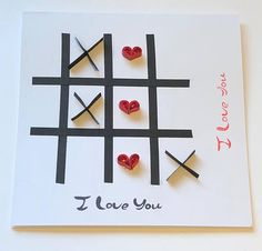 Valentines card, tic tac toe, noughts and crosses, 3D art, paper quilled cards, paper quilled art, cards for him, cards for her, romantic