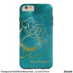 Transparent Gold Rose Bloom Teal Metallic Look Tough iPhone 6 Plus Case
