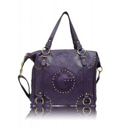 G Studded Tall Fashion Tote Purple  Vinyl Material Dual Carry Handles  11 in Drop Length Fully Lined Interior in Fabric  Closing Zipper on Top  Inside Zipper 2 Inside Pouches  Zipper on Back Bronze Toned Hardware  Approximate Size:  15L x 13H x 5W  Color: Purple  Model: A 76