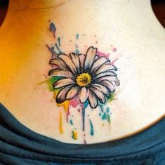 gerbera daisy watercolor tattoo - would love this with Lucas's name on a petal then the next one on another petal: