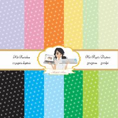 Kit papéis digitais furinhos - Michele Artes