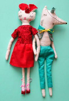 Roméo et Juliette by Anaïs natiembe   #handmade #artisanal #fox #doll #ragdoll
