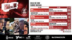 Cartelera Sala Lumiére del ciclo de cine: Sobre Ruedas. Del 8 al 13 de septiembre de 2015. Dos funciones: 16:00 y 19:00 horas. Cooperación: $10.00 #Culiacán, #Sinaloa.